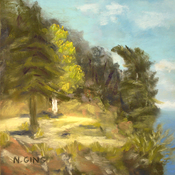 Portage Island Cliff 6x6 Series No. 1 - Pastel painting by Nancy Ging - Copyright © 2016