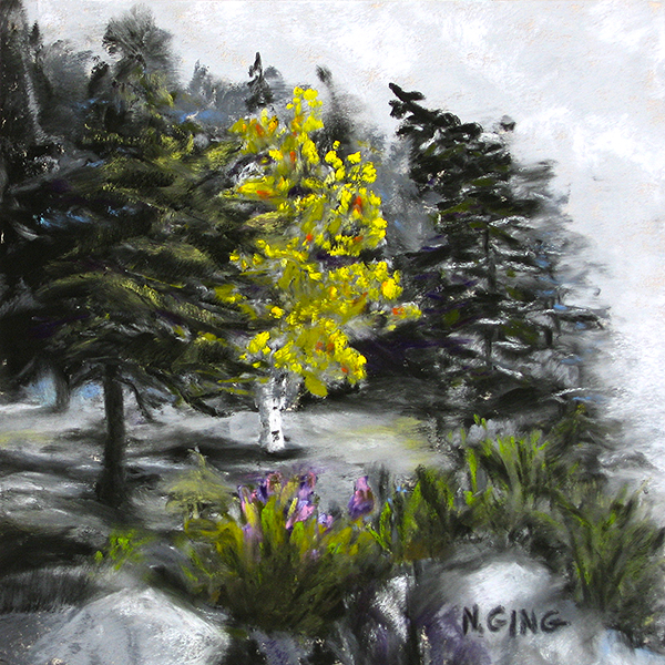 Portage Island Cliff 6x6 Series No. 3 - Soft pastel painting by Nancy Ging - Copyright 2016