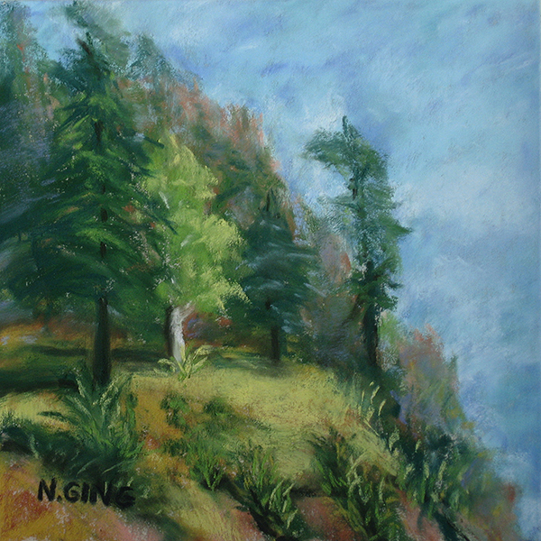 Portage Island Cliff 6x6 Series, Number 6 - Pastel Painting by Nancy Ging - Copyright © 2016