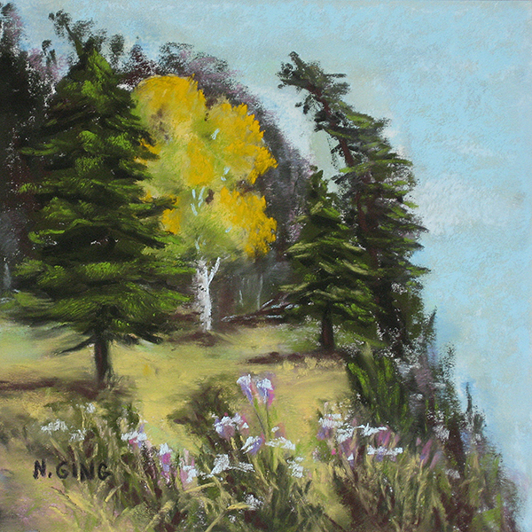 9 – Portage Island Cliff 6×6 Series – Pastel Painting by Nancy Ging © 2016
