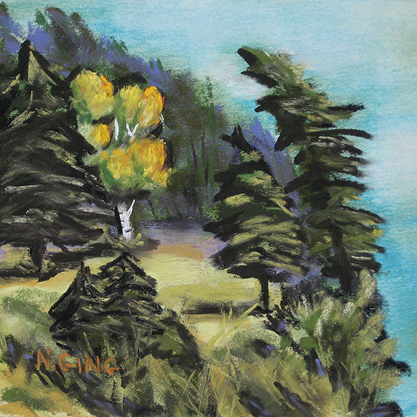 10 – Portage Island Cliff 6×6 Series – Pastel Painting by Nancy Ging © 2016