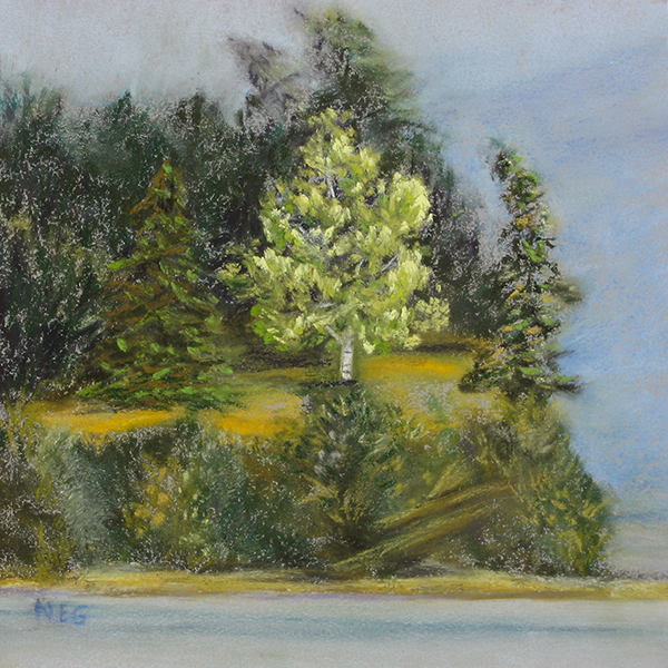 11 - Portage Island Cliff 6x6 Series - Pastel Painting by Nancy E. Ging @copy; 2017