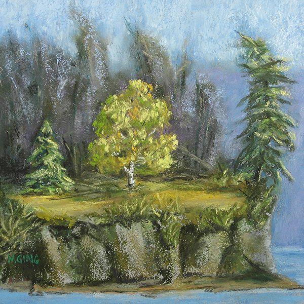 Portage Island Cliff 6x6 Series No. 12 - pastel painting by Nancy E. Ging © 2017