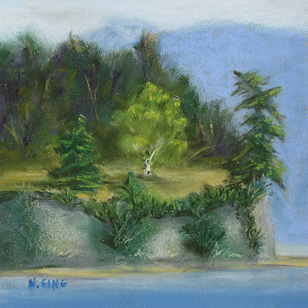 Portage Island Cliff No. 13 - Pastel Painting by Nancy E. Ging - Copyright © 2017