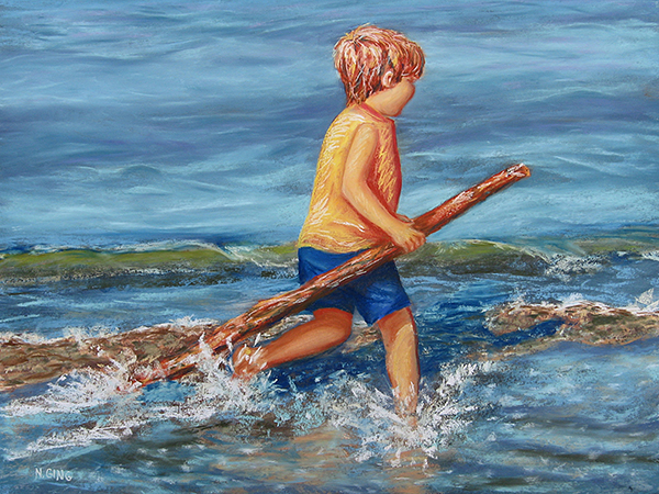 Beach Enterprise - Original soft pastel painting by Nancy E. Ging - Copyright © 2017