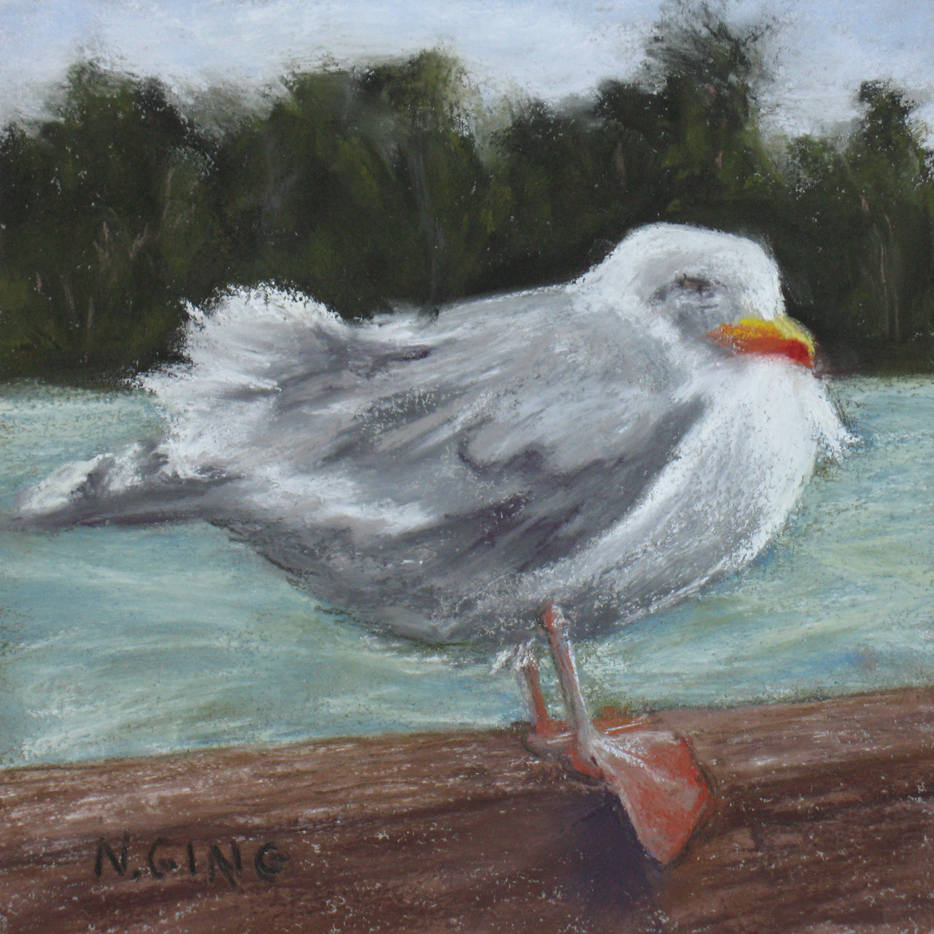 Ruffled Feathers - Copyright 2018 - Original Soft Pastel Painting by Nancy Ging