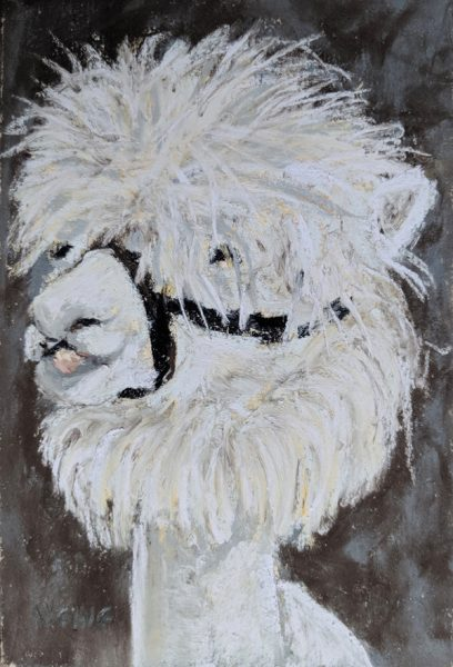 Do You Like My New Haircut? (Soft pastel painting by Nancy E. Ging)